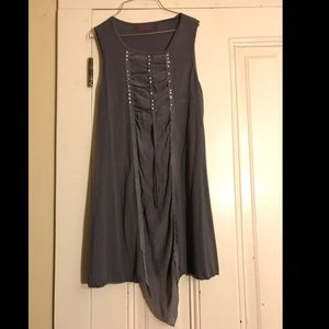 Charcoal grey dress with studs